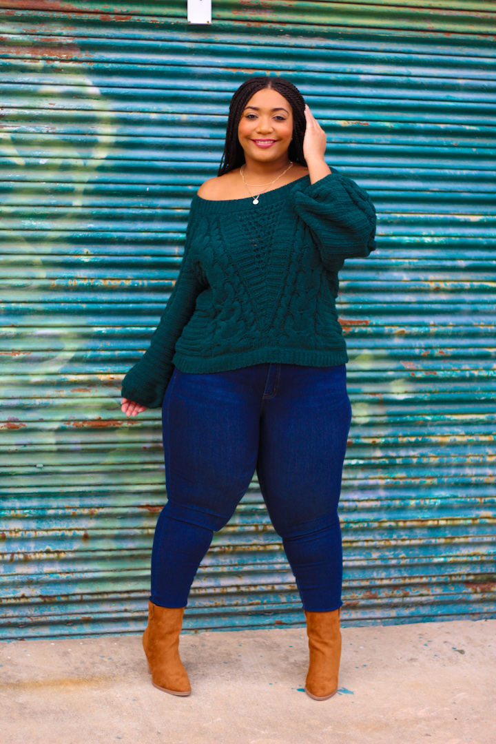 Green Sweater and Power Pocket Skinny Jeans