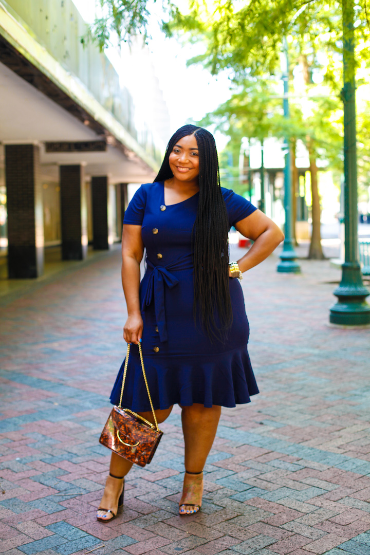 Navy Blue Dress and Tortoiseshell