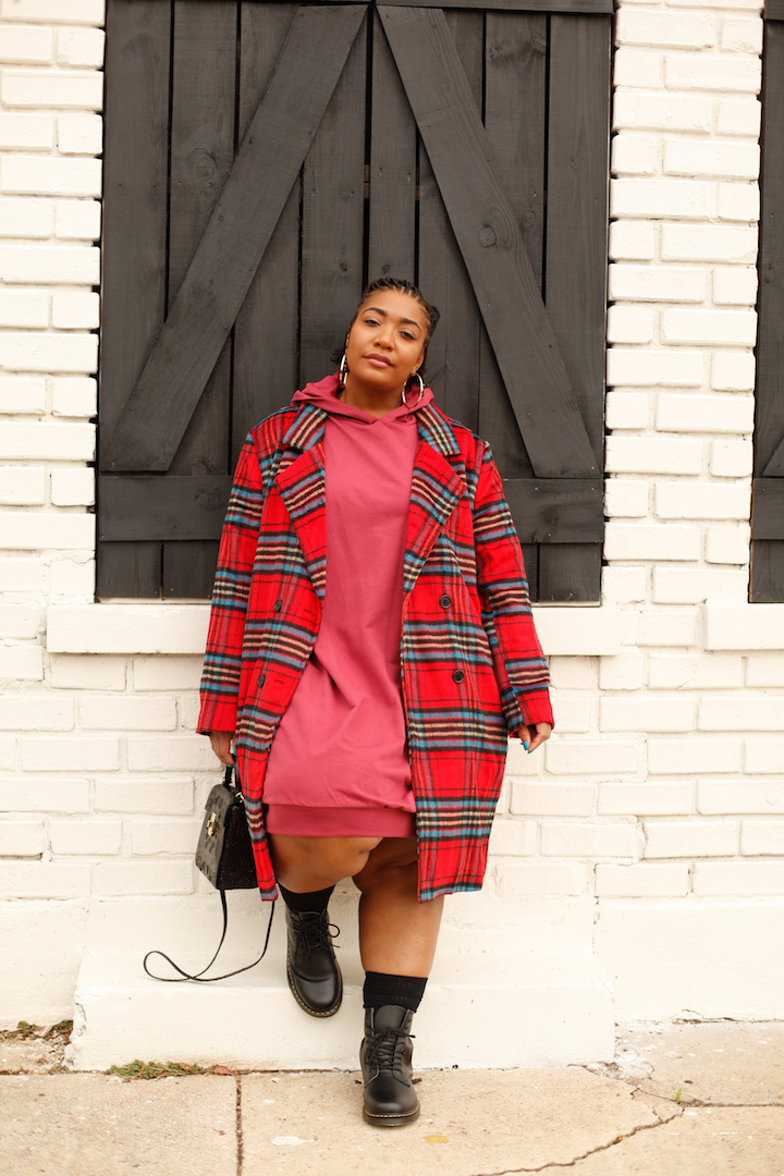 Comfortably Chic: Hoodie Dress and Plaid